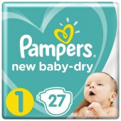 Подгузники Pampers New Baby-Dry Размер 1, 27 шт, 2-5 кг.