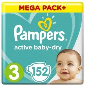 Подгузники Pampers Active Baby-Dry, 152 шт, 6-10 кг.