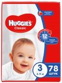 Подгузники Huggies Classic Mega 3, 78 шт, 4-9 кг.