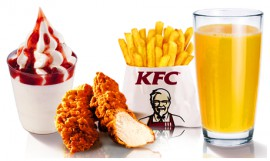Детский обед кусок курицы + газ. напиток 0,3 л.