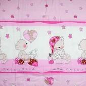 Одеяло розовое, Мишки