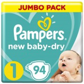 Подгузники Pampers New Baby-Dry Newborn, 94 шт, 2-5 кг.